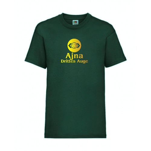 Ajna Drittes Auge Chakra Esoterik T-Shirt Fruit of the Loom Dunkelgrün E0003