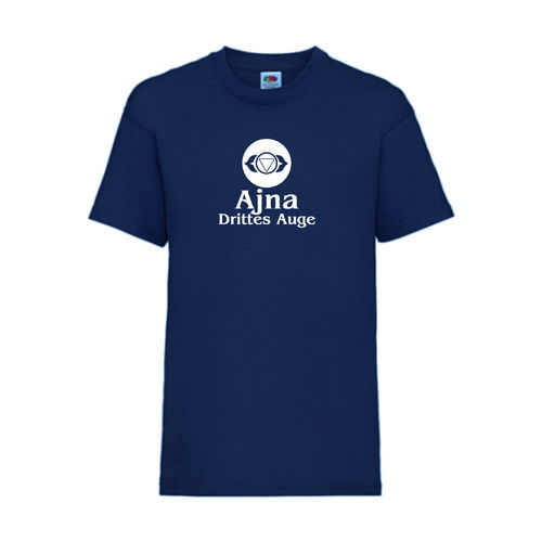 Ajna Drittes Auge Chakra Esoterik T-Shirt Fruit of the Loom Navy E0003