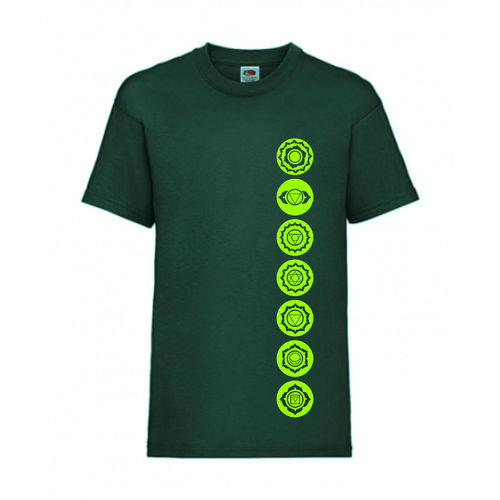 7 Chakren Symbole Esoterik Shirt T-Shirt Fruit of the Loom Dunkelgrün E0001