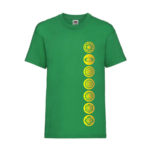 7 Chakren Symbole Esoterik Shirt T-Shirt Fruit of the Loom Grün E0001