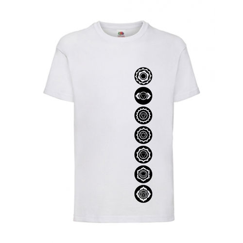 7 Chakren Symbole Esoterik Shirt T-Shirt Fruit of the Loom Weiß E0001